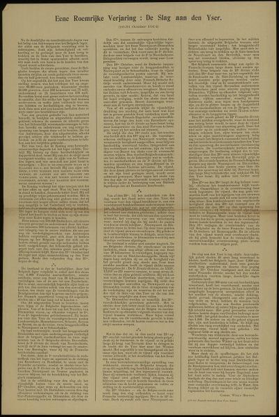 Eene roemrijke verjaring: de slag aan den Yser (16-31 October 1914)