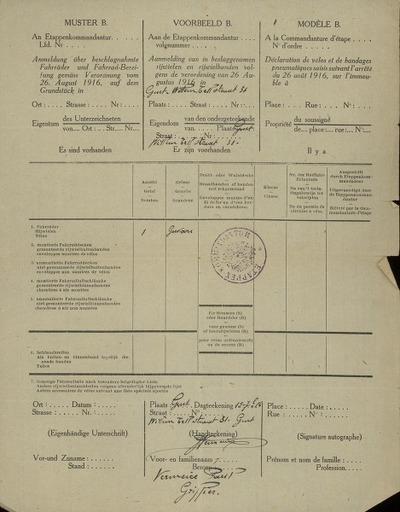 Voorbeeld B. Aanmelding van in beslaggenomen rijwielen en rijwielbanden volgens de verordening van 26 augustus 1916