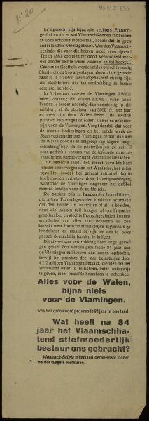 [Vlaamsgezind Pamflet ten voordele van de Raad van Vlaanderen en het Volksbestuur van Vlaanderen]