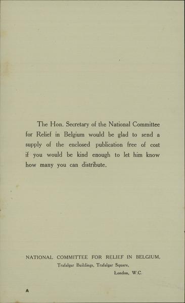 [Bericht aan de verdelers van een publicatie van het National Committee for Relief in Belgium]