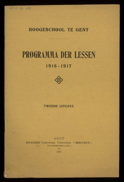 Hoogeschool te Gent programma der lessen 1916-1917