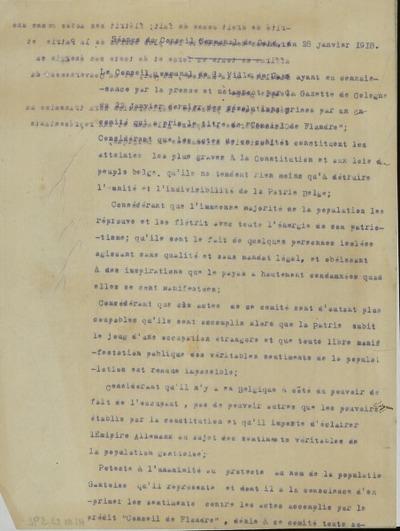 Séance du Conseil Communal de Gand, 28 janvier 1918