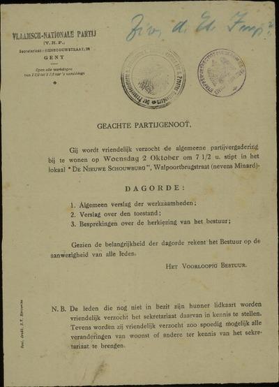[Uitnodiging van het voorlopig bestuur voor een algemene partijvergadering van de Vlaamsch-Nationale Partij]