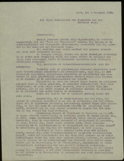 [Brief] Aan zijne Excellentie den Kanselier van het Duitsche rijk, Gent, den 4 februari 1918