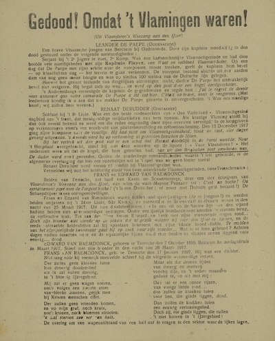 Gedood! Omdat 't Vlamingen waren! Onze Krijgsgevangenen ... zaterdag 24 Oogst 1918 ... in den Nederlandschen Schouwburg, Groot Kunstfeest