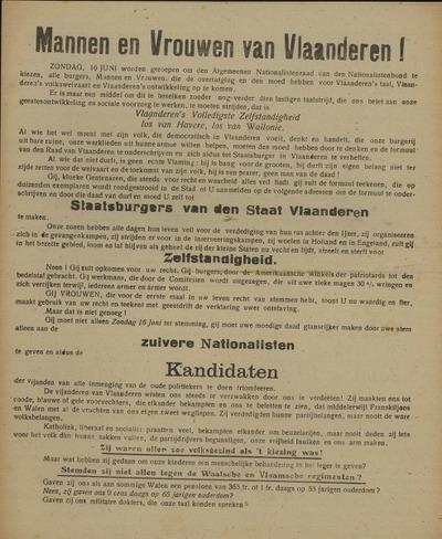 Mannen en Vrouwen van Vlaanderen!.. Oproep aan alle Vlaamsche Staatsburgers der Bevolking van groot- en landelijk Gent ... Zondag 16 juni 1918 ... Verkiezing van de Nationalistenraad ..