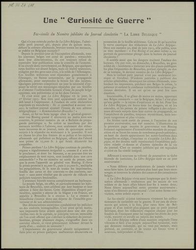 Une Curiosité de Guerre Fac-similé du numéro du journal clandestin La Libre Belgique