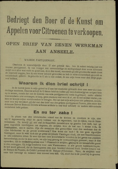 Bedriegt den boer of de Kunst om appelen voor citroenen te verkoopen open brief van eenen werkman aan Anseele