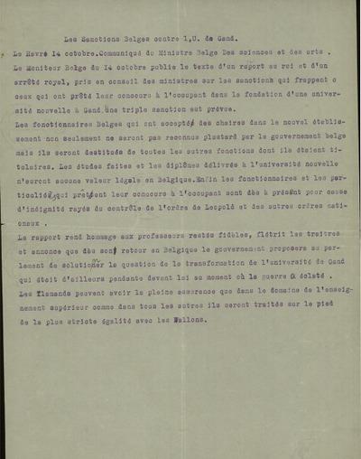 Les sanctions belges contre l' U. de Gand communiqué