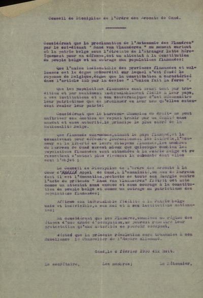 Conseil de Discipline de l'ordre des Avocats de Gand
