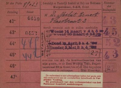 Gewestelijk en Plaatselijk Komiteit tot hulp aan Werkloozen, Kuiperskaai, 2-4-8, Gent Fiche