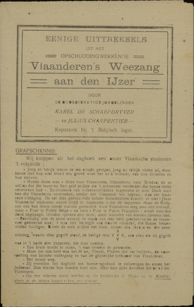 Eenige uittreksels uit het opschuddingwekkende Vlaanderen's Weezang aan den IJzer'