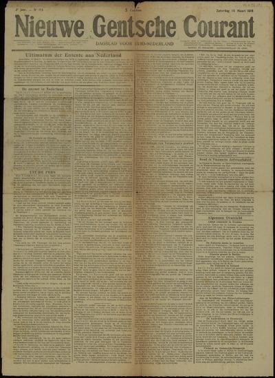 Nieuwe Gentsche Courant Zaterdag 16 Maart 1918