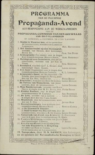 Programma van de plechtige propaganda-Avond als herinnering aan de werkzaamheden van de propaganda-commissie van den Gouwraad van Oost-Vlaanderen op zaterdag, 22 december, te 6 uur 's avonds