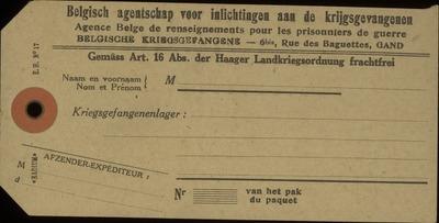 [Etiket] Belgische inlichtingsagentschap voor Krijgsgevangenen