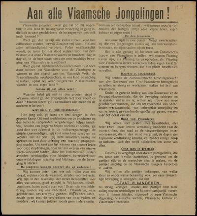 Aan alle Vlaamsche Jongelingen! Groote Vergadering der Groeningerwachters en Propoganda-uitstap met muziek naar Meirelbeke