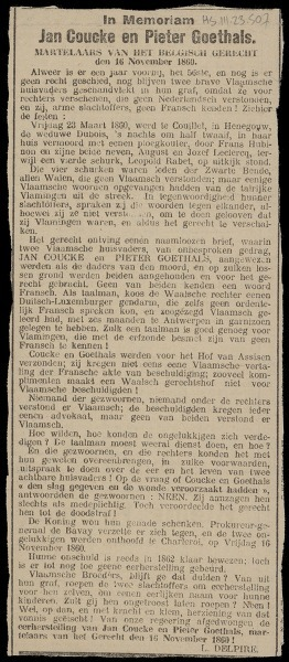 In Memoriam Jan Coucke en Pieter Goethals. Martelaars van het Belgisch Gerecht, den 16 November 1860