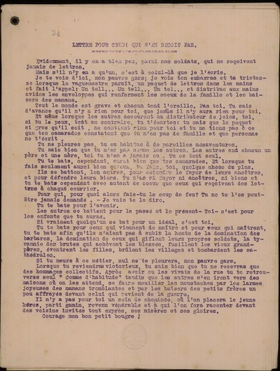 Lettre pour celui qui n'en reçoit pas (Matin de Paris); Magnifique Discours de Maurice Maeterlinck sur l'Héroïque Belgique (Extrait du Petit Parisien du 3 décembre 1914); La fête du Roi Albert (Journal de Paris)
