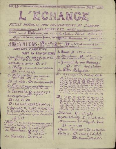 N° 42. L'Échange; feuille mensuelle pour les collectionners de journaux Guerre 1914-1918