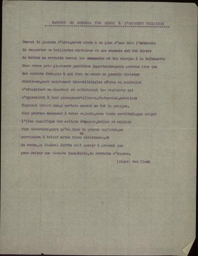 Rapport du General von Kluck à l'empéreur Guillaume