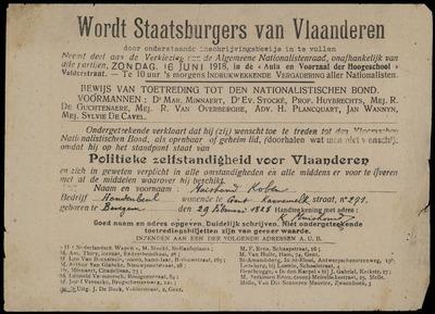 Wordt Staatsburgers van Vlaanderen door onderstaande inschrijvingsbewijs in te vullen ... Bewijs van toetreding tot den Nationalistischen Bond ..
