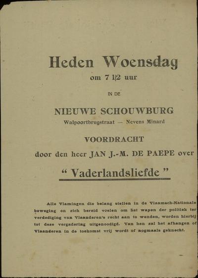 [Uitnodiging voor de voordracht door Jan J.-M. de Paepe over 'Vaderlandsliefde', ingericht door de Vlaamsch-Nationale Partij]