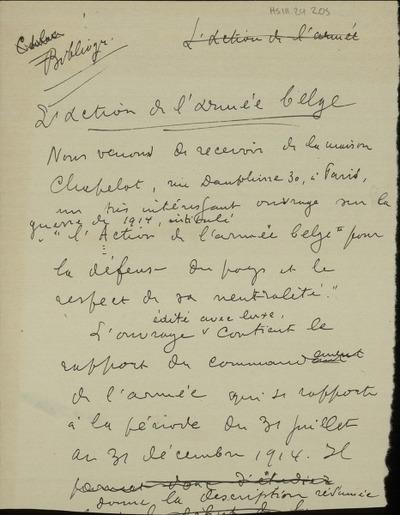 Bibliographie L'action de l'armée belge