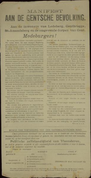 Manifest aan de Gentsche bevolking aan de inwoners van Ledeberg, Gentbrugge, St.-Amandsberg en de omgevende dorpen van Gent