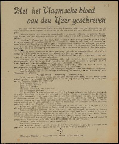 Met het Vlaamsche bloed van den Yzer geschreven Groote Protestvergadering tegen het uitmoorden onzer zonen aan het Front op Zaterdag 27 Juli 1918 ..