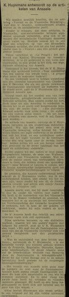Vooruit en de Vlaamsche Beweging K. Huysmans antwoordt op de artikelen van Anseele