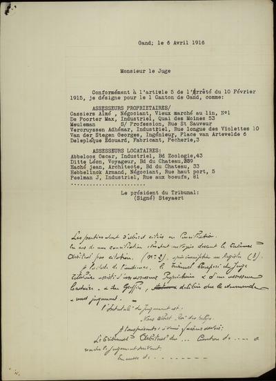 [Brief] Monsieur le juge; Conformément à l'article 5 de Arrêté du 10 février 1915, je désigne pour le canton de Gand, comme: Assesseurs propriétaires:...assesseurs locataires: ..