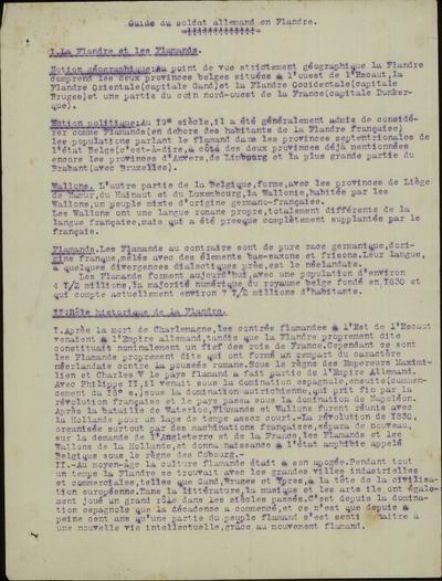 Guide du soldat allemand en Flandres