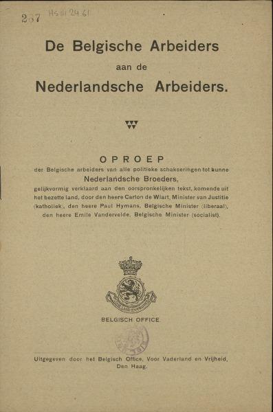 De Belgische Arbeiders aan de Nederlandsche Arbeiders