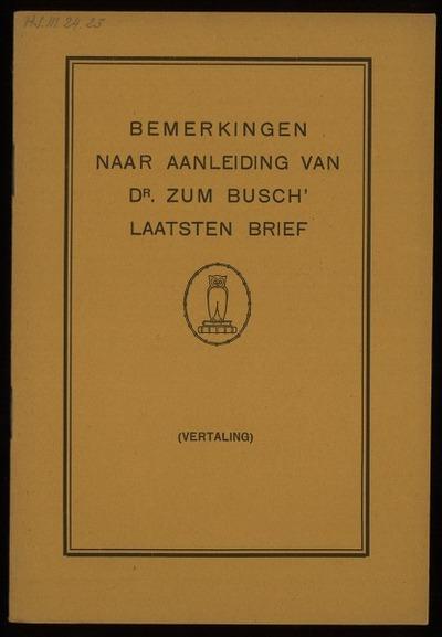 Bemerkingen naar aanleiding van Dr. zum Busch' laatsten brief (vertaling)
