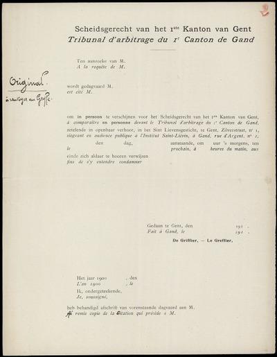[Dagvaarding] Ten aanzoeke van M. [ ] wordt gedagvaard M. [ ] om in persoon te verschijnen voor het Scheidsgerecht van het 1e Kanton van Gent ...