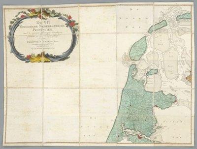 NOORDELIJKE en ZUIDELIJKE NEDERLANDEN >> Wandkaart van de Zeven Verenigde Nederlanden,