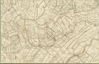 UTRECHT >> Wandkaart van de provincie Utrecht en aangrenzend gebied [1743], met aantekeningen betreffende grenswijzigingen in 1820