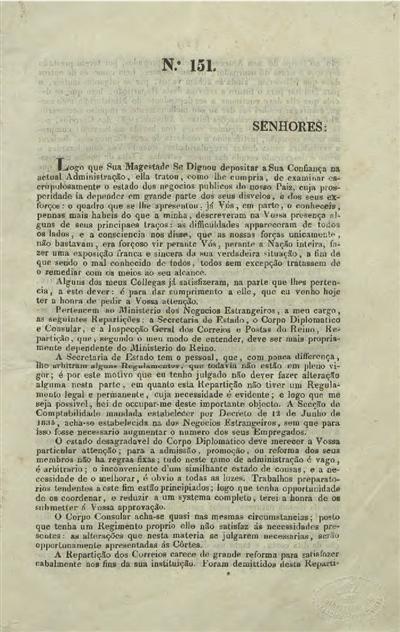 Relatorio e documentos apresentados ás Cortes : nº 151 - 26 de Janeiro de 1836 / Ministerio dos Negocios Estrangeiros; Marquez de Loulé