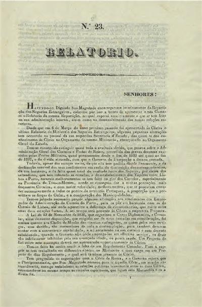 Relatorio e documentos apresentados ás Cortes : nº 23 (10 de Julho de 1840) / Ministerio dos Negocios Estrangeiros; Rodrigo da Fonseca Magalhães