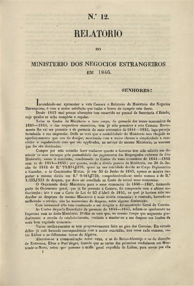 Relatorio do Ministerio dos Negocios Estrangeiros em 1846 : nº 12 (28 de Fevereiro de 1846) / Ministerio dos Negocios Estrangeiros; José Joaquim Gomes de Castro