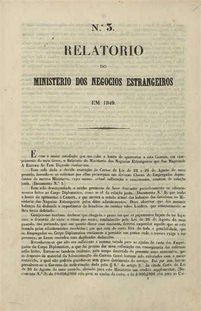 Relatorio do Ministerio dos Negocios Estrangeiros em 1849 : nº 3 (20 de Janeiro de 1849) / Ministerio dos Negocios Estrangeiros; Visconde de Castro