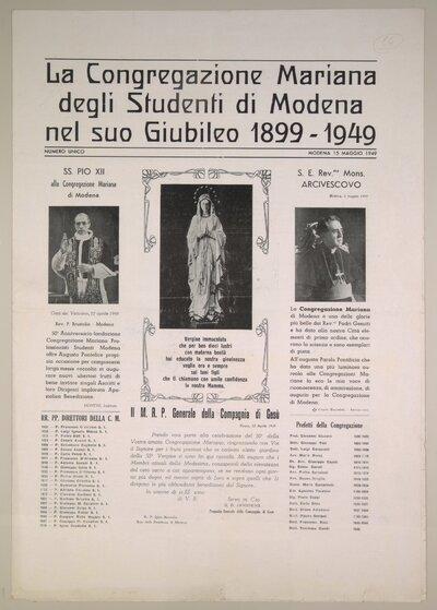La Congregazione mariana degli studenti di Modena nel suo giubileo