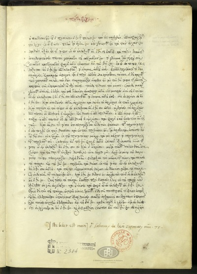 Bologna, Biblioteca Universitaria, ms. 2304