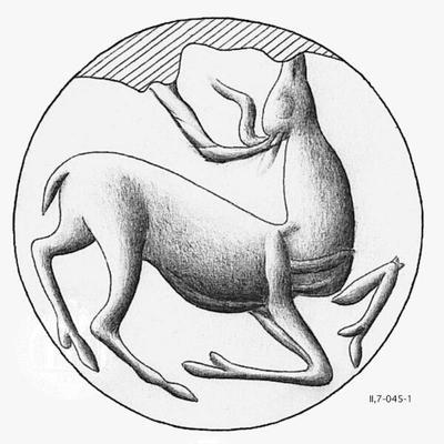 Schnurendplombe, Konoid GR-Iraklion, Archäologisches Museum HMs 94