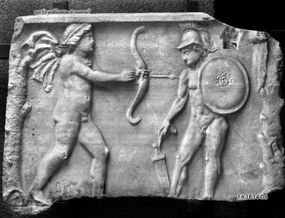 Nebenseite eines Meleagersarkophags mit Apollon und Meleager