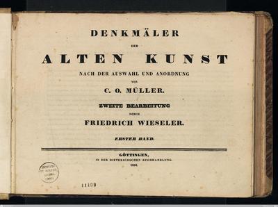 Denkmäler der alten Kunst nach der Auswahl und Anordnung von C. O. MüllerZweiter Band, Heft 1.2