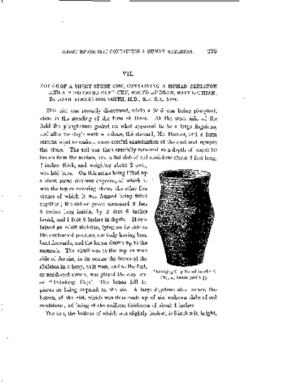 Notice of a Short Stone Cist, containing a Human Skeleton and a 'Drinking Cup' Urn, found at Drem, East Lothian., Volume 16, 299-300