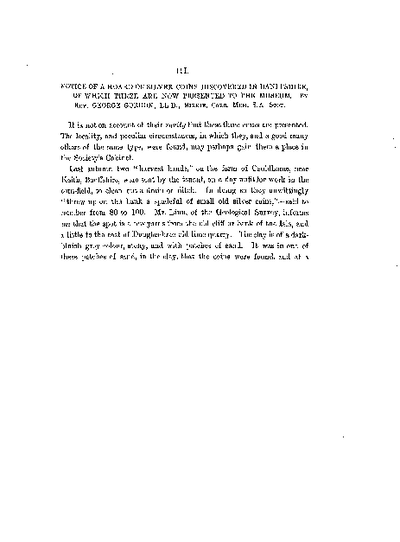 Notice of a Hoard of Silver Coins discovered in Banffshire, of which three are now presented to the Museum., Volume 16, 431-3