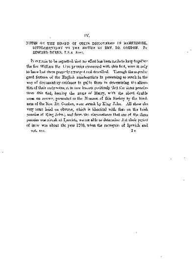 Notes on the Hoard of Coins discovered in Banffshire, supplementary to the Notice by Rev. Dr Gordon., Volume 16, 433-6