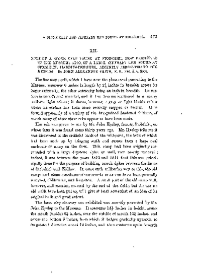 Note of a Stone Celt found at Stobshiel, now presented to the Museum; also, of a large Cinerary Urn found at Stobshiel, Haddingtonshire, recently presented to the Museum., Volume 16, 473-6